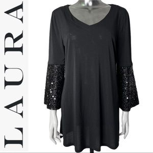 Laura Bell Long Sleeve Sequin Detail Tunic Black